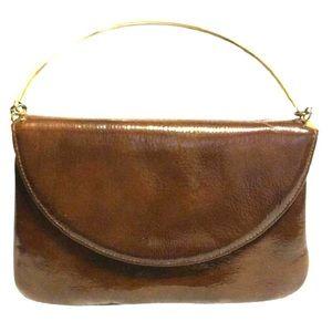Sak's Fifth Avenue Bags - Sak's Fifth Avenue Brown Patent Leather Satchel